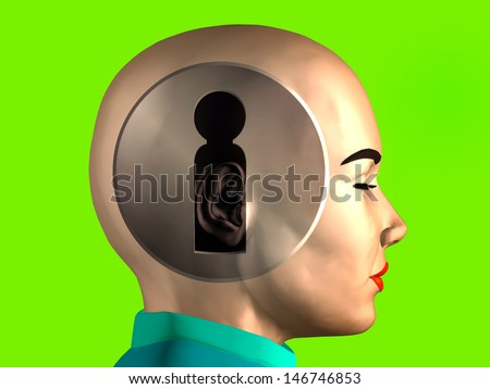 privacy protection; Keyhole inside a female head  - stock photo