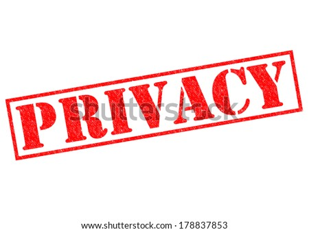 PRIVACY red Rubber Stamp over a white background. - stock photo
