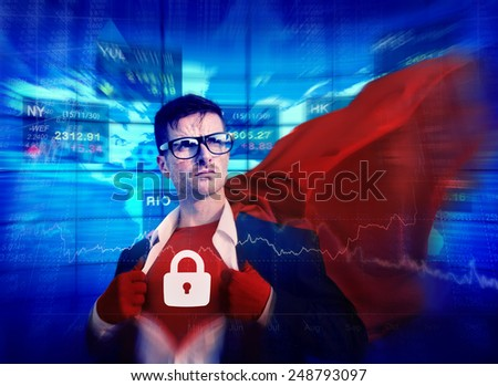 Privacy Strong Superhero Success Professional Empowerment Stock Concept - stock photo