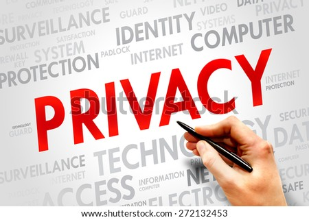 PRIVACY word cloud, business concept - stock photo