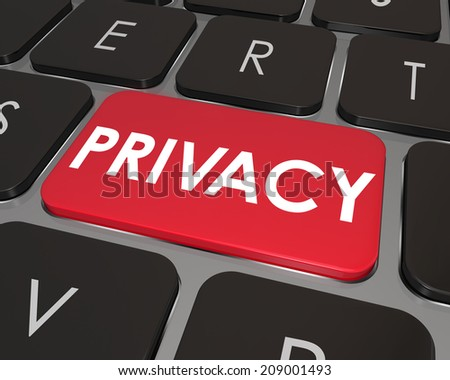 Privacy word on a computer keyboard key or button as protection and security for sensitive personal information, shielding you from hacking and online theft  - stock photo