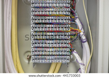 Private Automatic Branch eXchange telephone system. PABX . selective focus - stock photo
