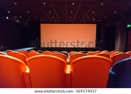 Private cinema hall in a hotel in London - stock photo