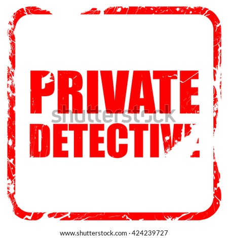 private detective, red rubber stamp with grunge edges - stock photo