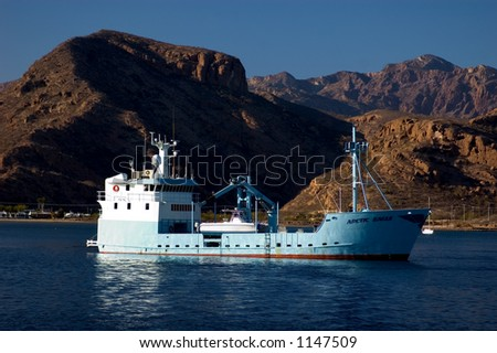 private fishing boat in bay of san carlos mexico - stock photo