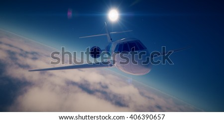 Private jet at sunrise - 3D rendering - stock photo