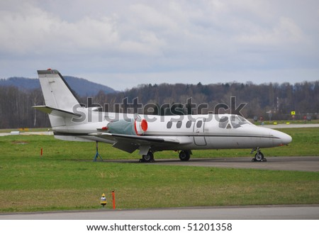Private jet at Zurich airport - stock photo