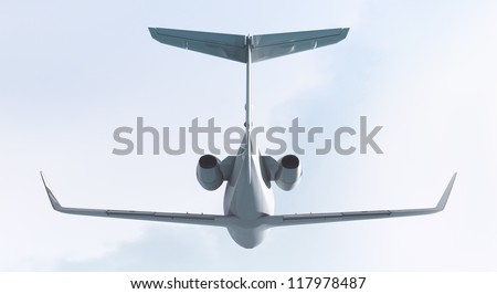Private jet, CG render plane and clouds/ Private jet - back view / CG - stock photo