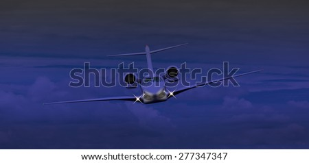 Private jet flying at night  - stock photo