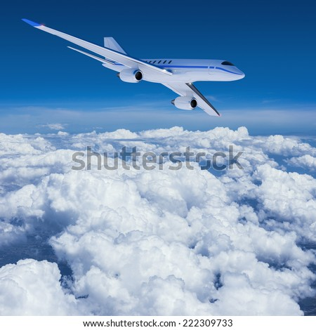 Private jet in flight - stock photo