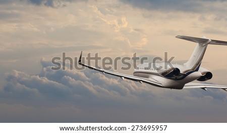 Private jet in flight  - stock photo
