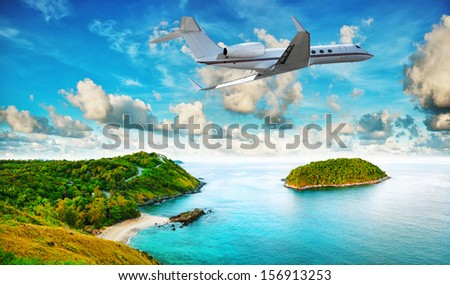 Private jet is leaving tropical resort in the morning. HDR processed. - stock photo
