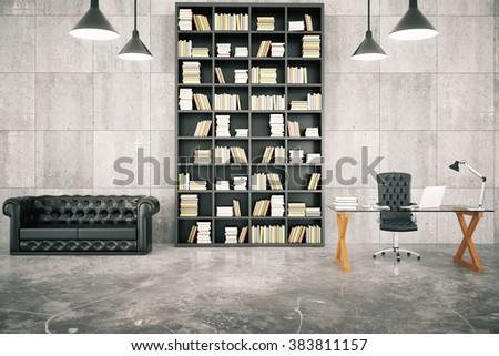 Private loft office with bookcase, leather sofa and glassy table with concrete floor and lamps, 3D render - stock photo