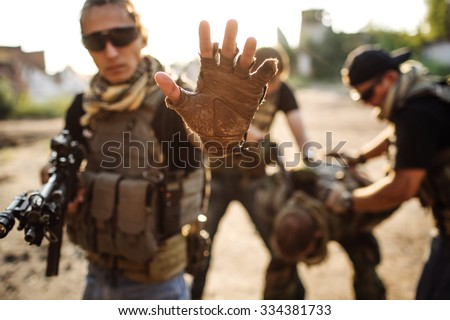 Private Military Contractor  captured hostage - stock photo