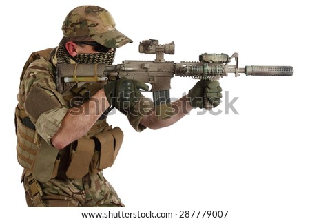 Private Military Contractor with carbine M4 isolated on white - stock photo
