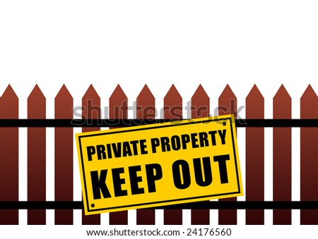 Private property sign. Raster illustration isolated on the white background. - stock photo