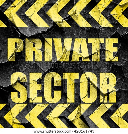 private sector, black and yellow rough hazard stripes - stock photo