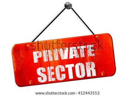 private sector, 3D rendering, vintage old red sign - stock photo