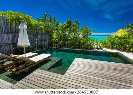 Private swimming pool on beach with amazing view of the azure ocean - stock photo