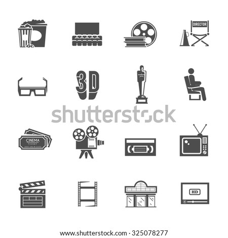 Prize winning film production and movie theater projector retro black icons set with abstract isolated  illustration - stock photo