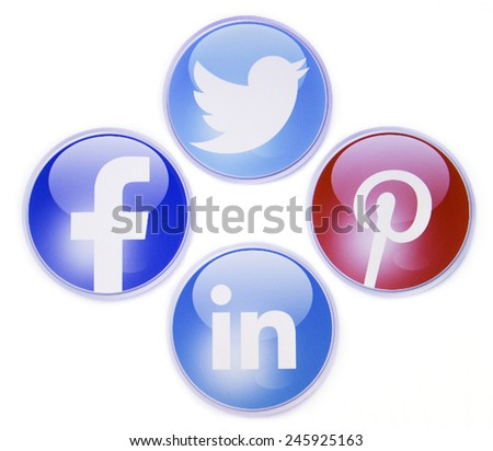 Prizren, Kosovo - January 16, 2015: Social networks signs, facebook,twitter,pinterest and linkedin on pc screen - stock photo