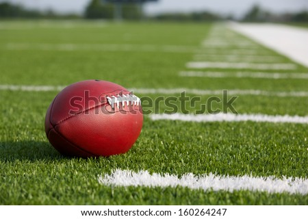 Pro American Football on the Field with room for copy - stock photo