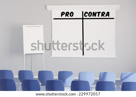 Pro and Contra as list on a flipchart in a seminar room (3D Rendering) - stock photo