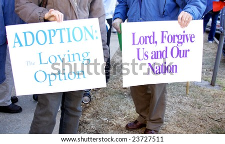 Pro-life rally signs, - stock photo