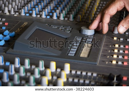 Pro mixing pult at a recording studio - stock photo
