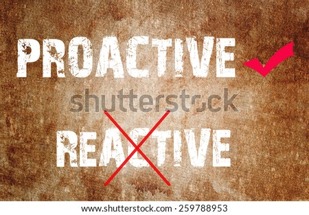 Proactive and Reactive concept text on grunge background  - stock photo