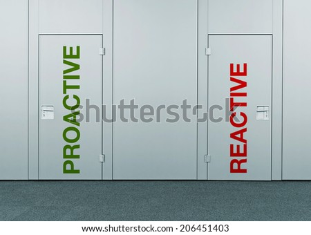 Proactive or reactive, concept of choice. Closed doors with printed marks as concept of decision making, options, strategy and dilemmas. - stock photo