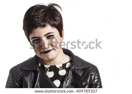 problem depression teenage with messed hair and sad face - stock photo