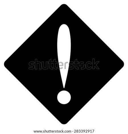 Problem icon from Basic Plain Icon Set. Style: flat symbol icon, black color, rounded angles, white background. - stock photo