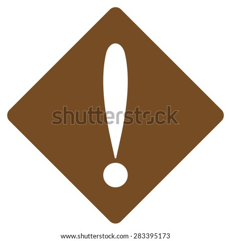 Problem icon from Basic Plain Icon Set. Style: flat symbol icon, brown color, rounded angles, white background. - stock photo