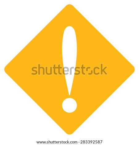 Problem icon from Basic Plain Icon Set. Style: flat symbol icon, yellow color, rounded angles, white background. - stock photo
