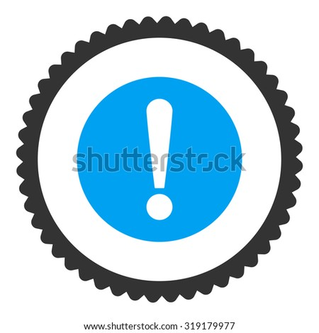 Problem round stamp icon. This flat glyph symbol is drawn with blue and gray colors on a white background. - stock photo
