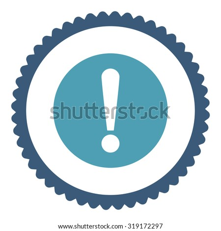 Problem round stamp icon. This flat glyph symbol is drawn with cyan and blue colors on a white background. - stock photo