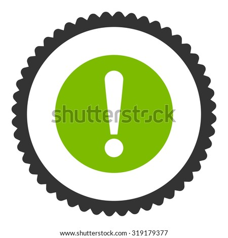 Problem round stamp icon. This flat glyph symbol is drawn with eco green and gray colors on a white background. - stock photo