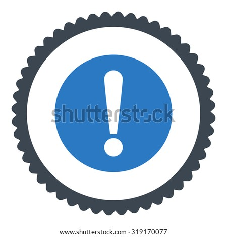 Problem round stamp icon. This flat glyph symbol is drawn with smooth blue colors on a white background. - stock photo