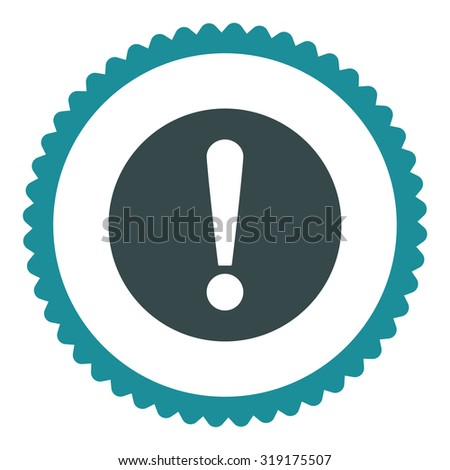 Problem round stamp icon. This flat glyph symbol is drawn with soft blue colors on a white background. - stock photo