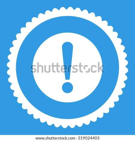 Problem round stamp icon. This flat glyph symbol is drawn with white color on a blue background. - stock photo