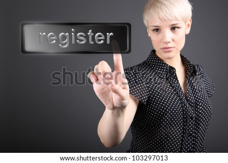 Problem solving concept - business woman touching screen - stock photo