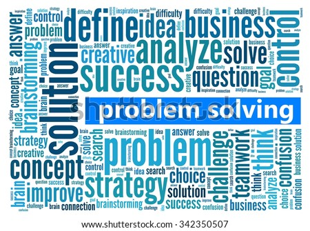 Problem Solving in word collage - stock photo