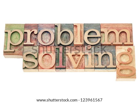 problem solving - isolated words in vintage letterpress wood type printing blocks - stock photo