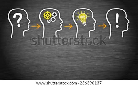 Problem - Think - Idea - Solution - stock photo