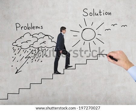 Problems and solution business pathway. - stock photo