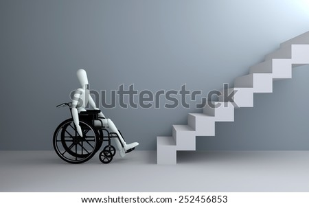 Problems of people with disabilities 3D rendering - stock photo