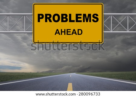 Problems road sign - stock photo
