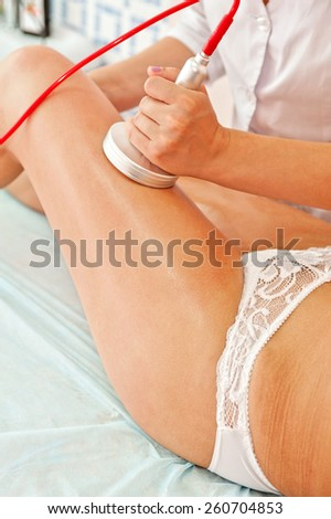 procedure for women hip against cellulite and fat - stock photo