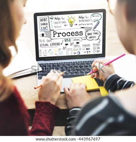 Process Action Activity Practice Steps System Concept - stock photo
